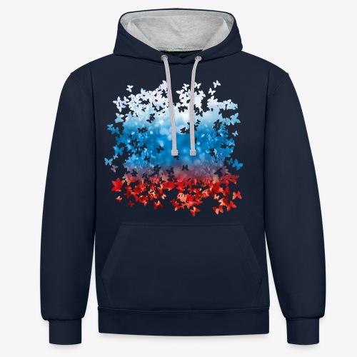 06 Russland Flagge Fahne Russia Schmetterlinge - Kontrast-Hoodie