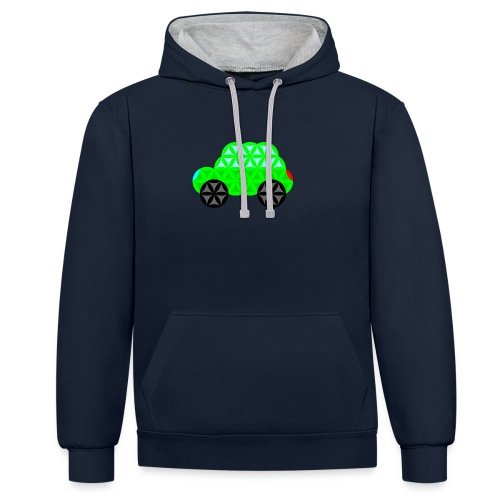 The Car Of Life - M01, Sacred Shapes, Green/R01. - Contrast Colour Hoodie