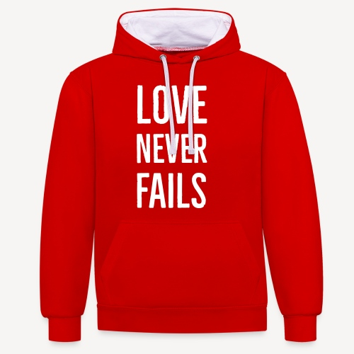LOVE NEVER FAILS - Contrast Colour Hoodie