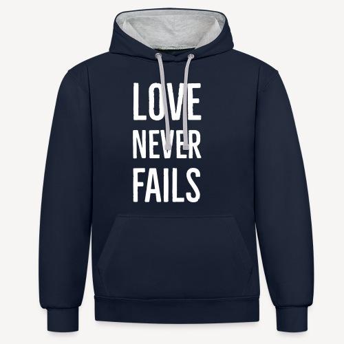 LOVE NEVER FAILS - Contrast Colour Hoodie