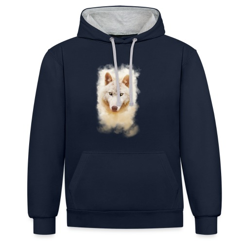 .: White Wolf - Intense :. - Contrast Colour Hoodie