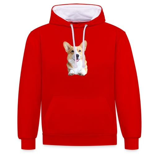 Topi the Corgi - Frontview - Contrast Colour Hoodie