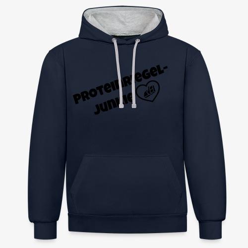 Proteinriegel Junkie Logo mit Riegelherz - Kontrast-Hoodie