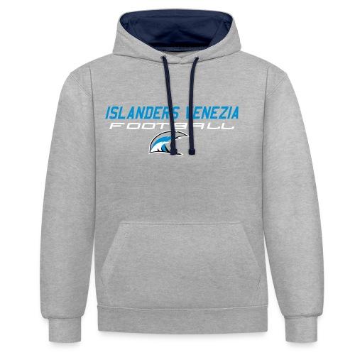 islanders football new logo - Felpa con cappuccio bicromatica
