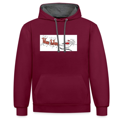 pictures-of-santa-and-reindeer-UDuZhz-clipart - Contrast Colour Hoodie