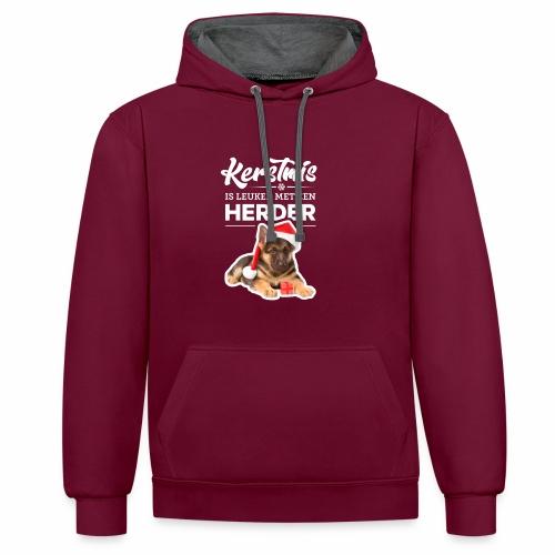 Kerstmis is leuker met een herder! - Contrast hoodie