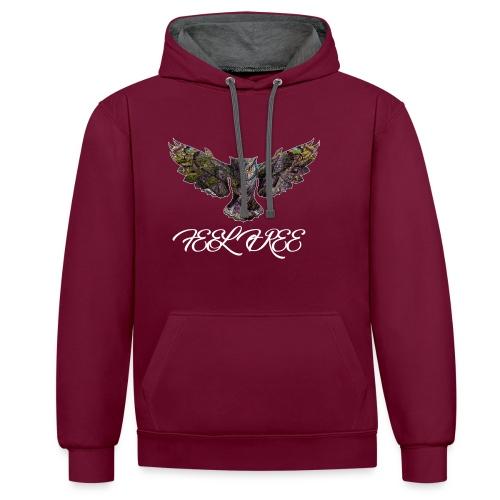 Feel Free Owl - Kontrast-Hoodie