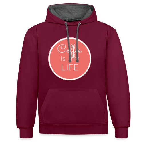 Coffee is my life - Sudadera con capucha en contraste