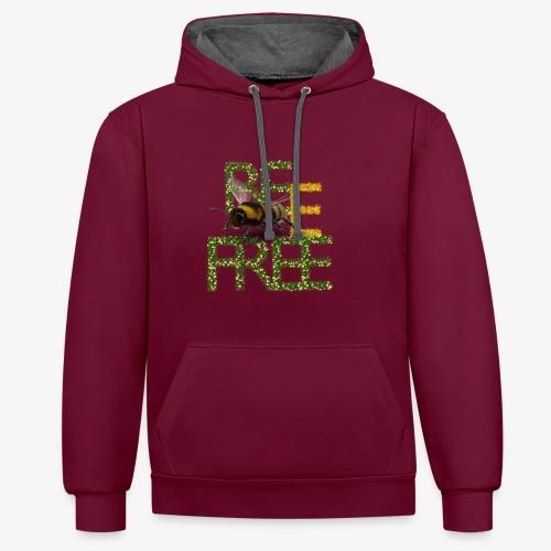bee free bądż wolna wolny - Bluza z kapturem z kontrastowymi elementami