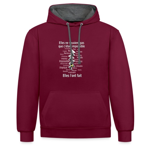Impossible et fait Femmes brèche Fond Sombre - Sweat-shirt contraste