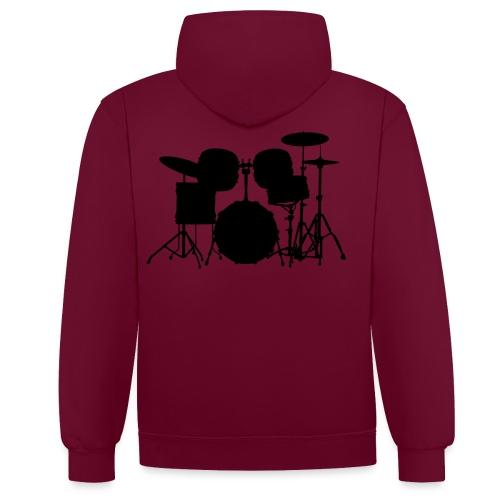 Drumset 1 Kontur schwarz - Kontrast-Hoodie