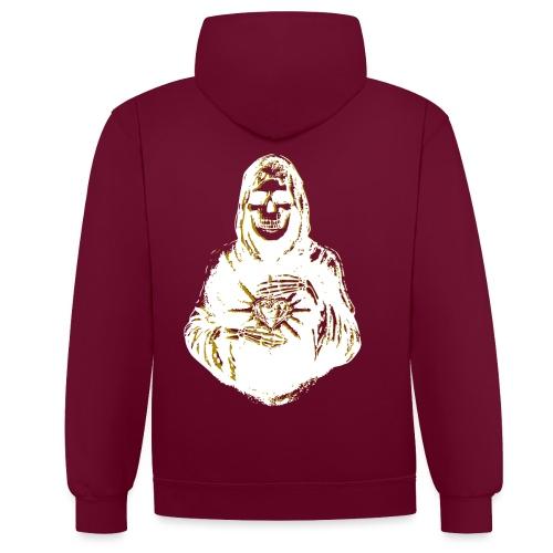 Santa Muerte I Weiss Gold - Kontrast-Hoodie