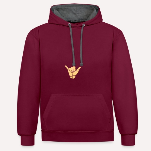 Good Vibes Print Design Hand Sign On Demand - Contrast Colour Hoodie