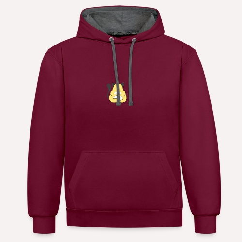 Cat Yoga Pose Print Design, Hoodie Other Apparels - Contrast Colour Hoodie