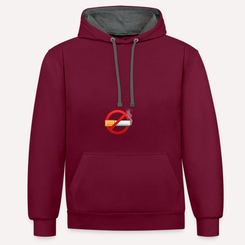No Smoking Print Design T-shirt And Other Apparel - Contrast Colour Hoodie