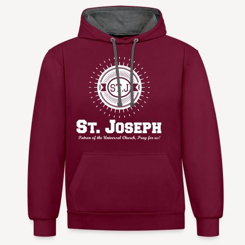 Saint Joseph, Patron of the Universal Church - Contrast Colour Hoodie