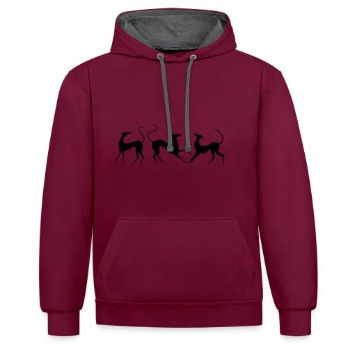 Windhundfries - Kontrast-Hoodie