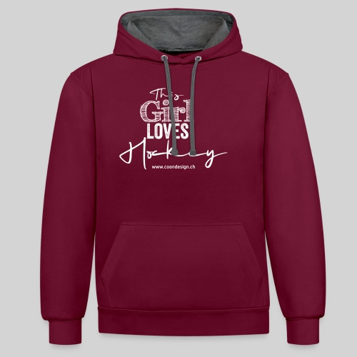 This Girl loves Hockey (white) - Kontrast-Hoodie