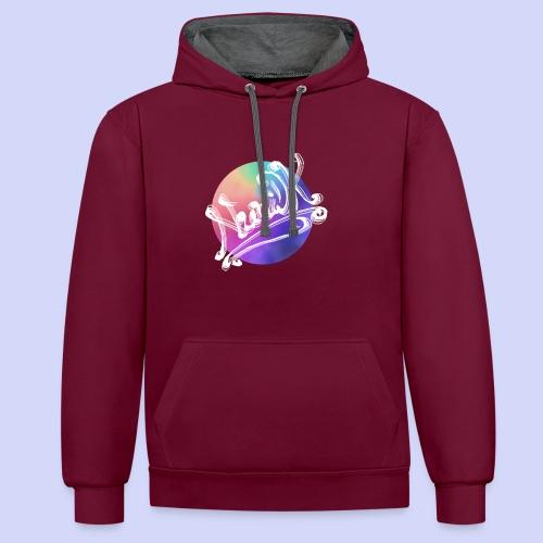 pastel rainbow, NuniDK Collection - Female top - Kontrast-hættetrøje