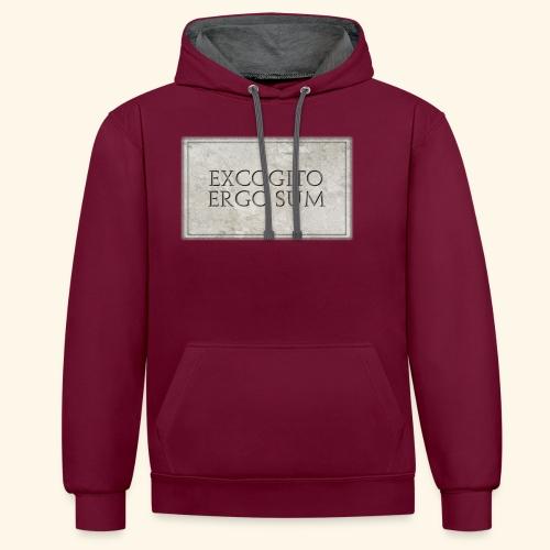 Excogitoergosum - Felpa con cappuccio bicromatica