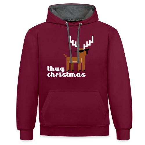 Christmas Xmas Deer Pixel Funny - Contrast Colour Hoodie