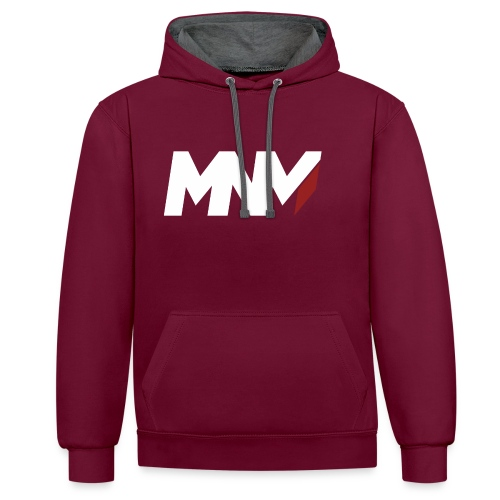 MNM With RED WHITE Corner - Contrast Colour Hoodie