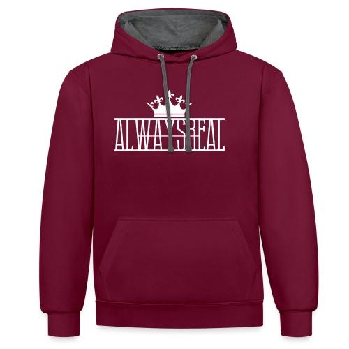 AlwaysReal Weiss - Kontrast-Hoodie