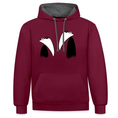 Raving Ravens - black and white 1 - Kontrast-Hoodie
