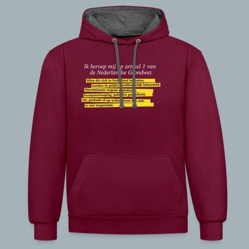 Nederlandse Grondwet T-Shirt - Artikel 1 - Contrast hoodie