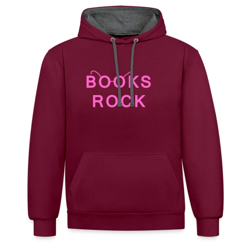 Books Rock Pink - Contrast Colour Hoodie