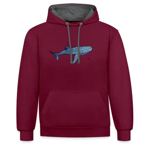 Whale shark - Felpa con cappuccio bicromatica