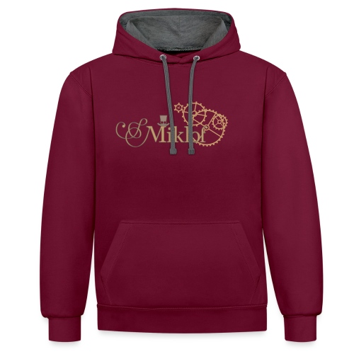 miklof logo gold outlined 3000px - Contrast Colour Hoodie