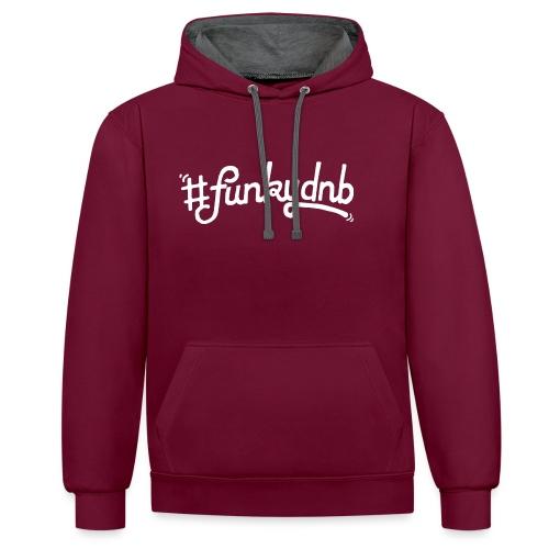 #funkydnb WhitePrint - Kontrast-Hoodie