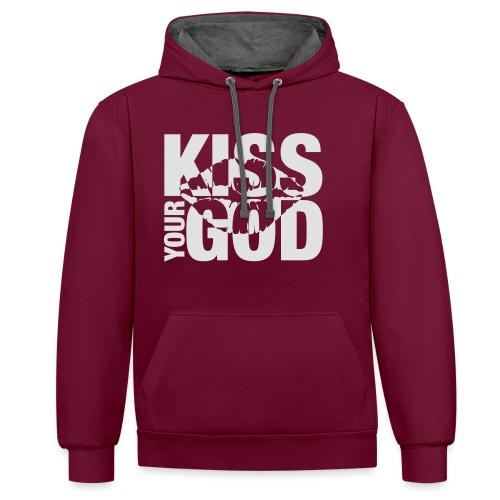 Kiss your God (weiß) - Kontrast-Hoodie
