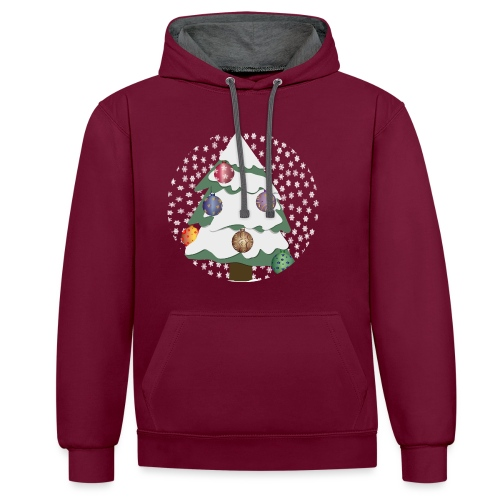 Christmas tree in snowstorm - Contrast Colour Hoodie