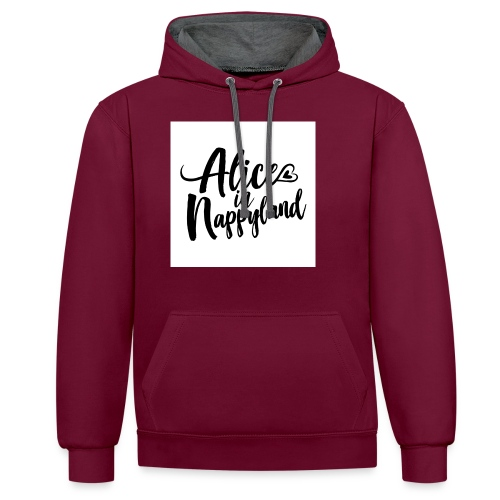 Alice in Nappyland Typography Black 1080 1 - Contrast Colour Hoodie