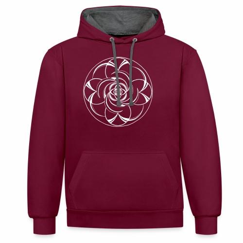 Mandala Nr 2 weiss - Kontrast-Hoodie