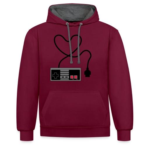 NES Controller Heart - Contrast Colour Hoodie
