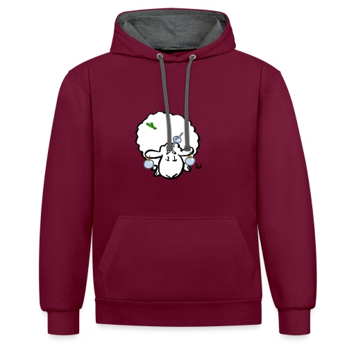 Christmas Tree Sheep - Contrast Colour Hoodie