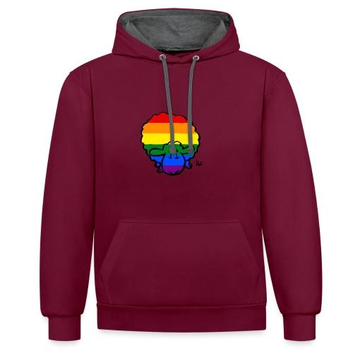 Rainbow Pride Sheep - Sudadera con capucha en contraste