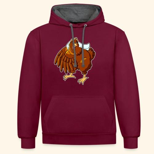 Verrücktes Huhn - Kontrast-Hoodie
