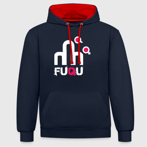 T-shirt FUQU logo colore bianco - Felpa con cappuccio bicromatica