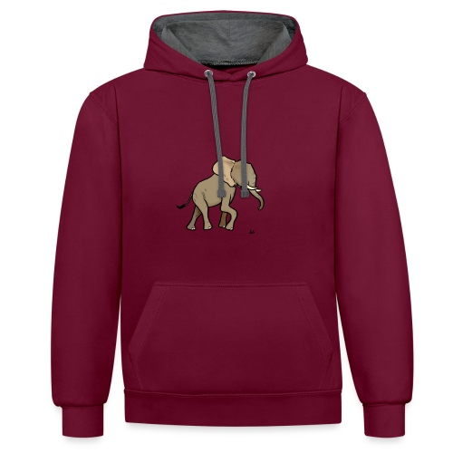African Elephant - Contrast Colour Hoodie