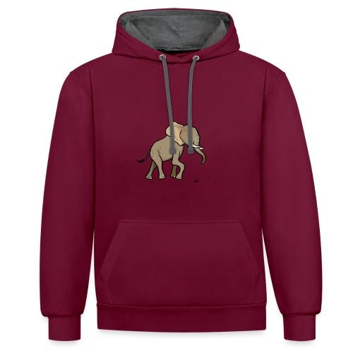 African Elephant - Kontrast-Hoodie
