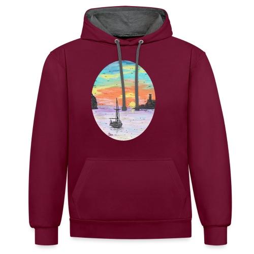 Port de Sollers Sonnenuntergang - Kontrast-Hoodie