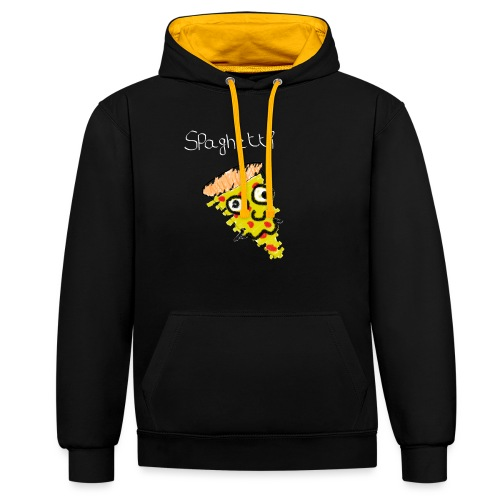 spaghetti (witte tekst) - Contrast hoodie
