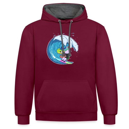 Surfing Unicorn - Contrast Colour Hoodie