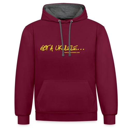 Official Got A Ukulele website t shirt design - Contrast Colour Hoodie