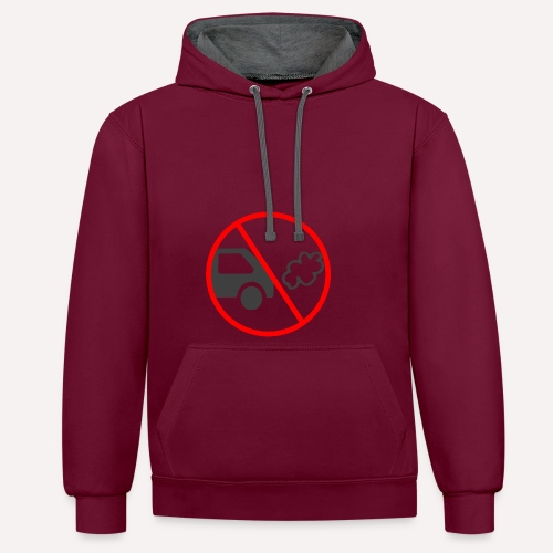 No Car Pollution climate caring print design - Contrast Colour Hoodie