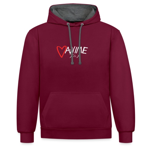 Heart Anime 2 - Contrast Colour Hoodie